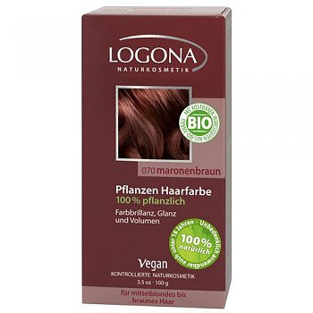 Растительная краска для волос 070 «КАШТАН КОРИЧНЕВЫЙ» LOGONA,100 гр.