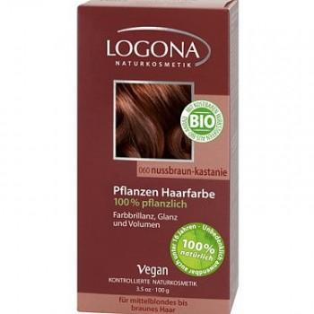 Растительная краска для волос 060 «ОРЕХ КРАСНО-КОРИЧНЕВЫЙ» LOGONA , 100 гр.
