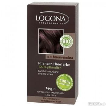 Растительная краска для волос 090 « УМБРА ТЕМНО-КОРИЧНЕВЫЙ» LOGONA, 100 гр.