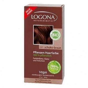 Растительная краска для волос 091 «ШОКОЛАДНО-КОРИЧНЕВЫЙ» LOGONA, 100 гр.