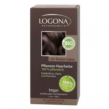 Растительная краска для волос 080 «НАТУРАЛЬНО-КОРИЧНЕВЫЙ» LOGONA, 100 гр.