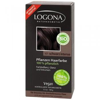 Растительная краска для волос 101 «НАСЫЩЕННО-ЧЕРНЫЙ» LOGONA, 100 гр.