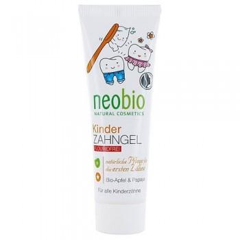 Гелевая зубная паста для детей без фтора с био-яблоком и папайей Neobio, 50 мл.